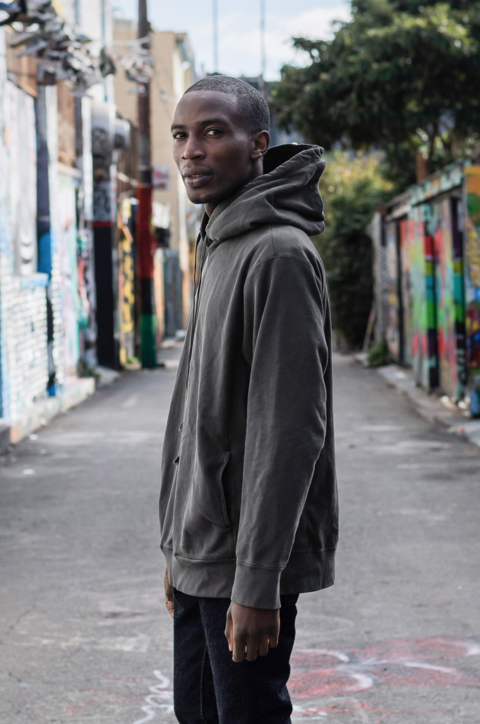 3sixteen Suffused Collection / Overdyed French Terry Pull-Over Hoodie - Aphotic Anthracite - Image 2