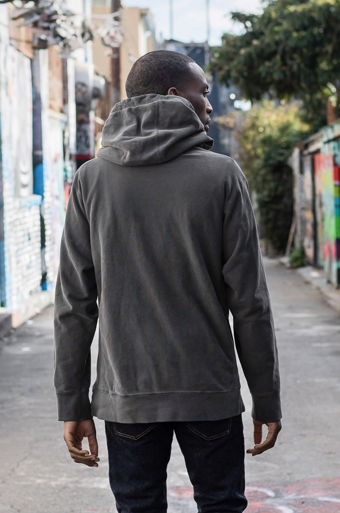 3sixteen Suffused Collection / Overdyed French Terry Pull-Over Hoodie - Aphotic Anthracite - Image 3