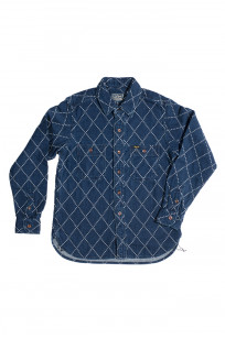 Studio D'Artisan Diamond Sashiko Shirt - Hard Washed Indigo - Image 5