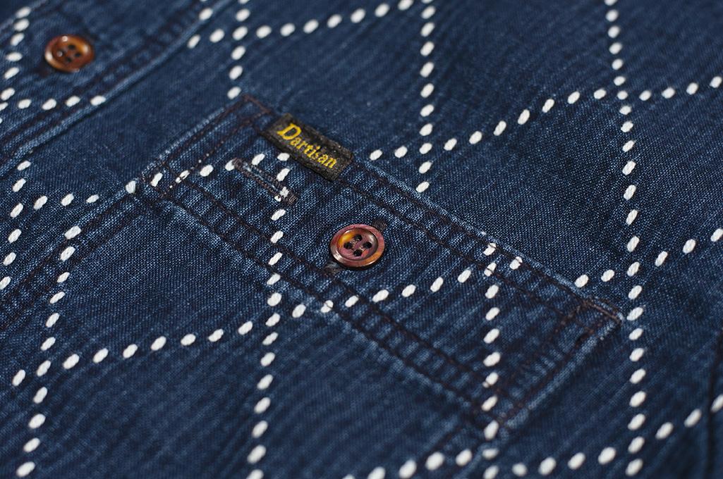 Studio D'Artisan Diamond Sashiko Shirt - Hard Washed Indigo - Image 8