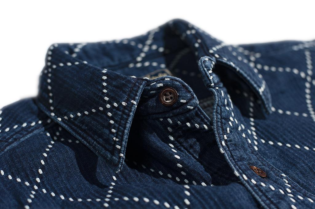 Studio D'Artisan Diamond Sashiko Shirt - Hard Washed Indigo - Image 11