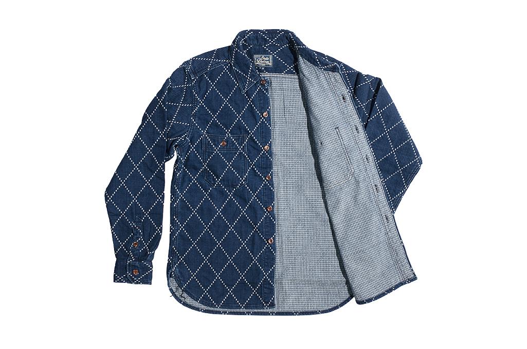 Studio D'Artisan Diamond Sashiko Shirt - Hard Washed Indigo - Image 14