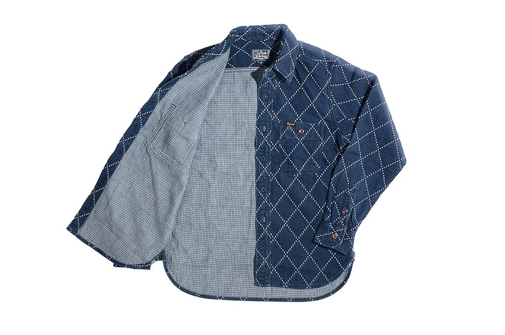 Studio D'Artisan Diamond Sashiko Shirt - Hard Washed Indigo - Image 15