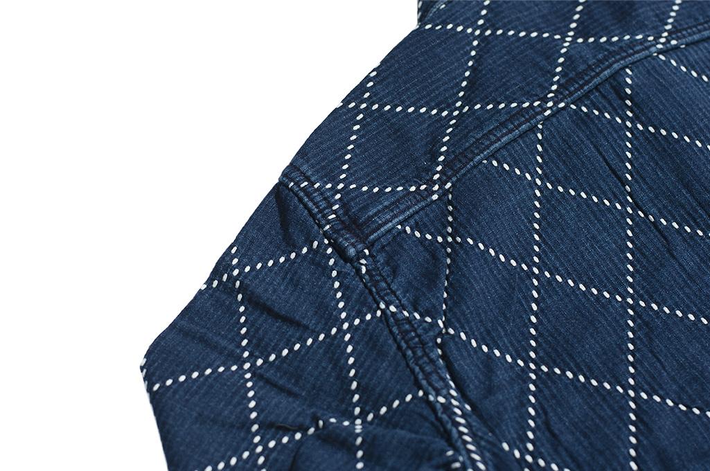 Studio D'Artisan Diamond Sashiko Shirt - Hard Washed Indigo - Image 17