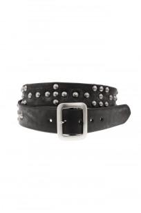 Sugar Cane Cowhide Leather Belt - Black Studded Offset - Image 0