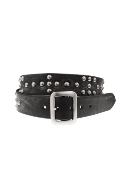 Sugar Cane Cowhide Leather Belt - Black Studded Offset