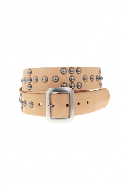 Sugar Cane Cowhide Leather Belt - Tan Studded Offset