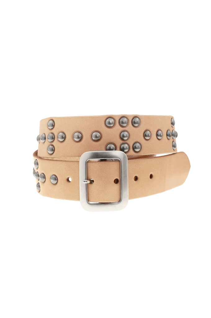Sugar Cane Cowhide Leather Belt - Tan Studded Offset - Image 0
