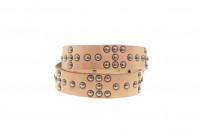 Sugar Cane Cowhide Leather Belt - Tan Studded Offset - Image 2