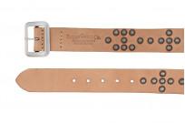 Sugar Cane Cowhide Leather Belt - Tan Studded Offset - Image 3
