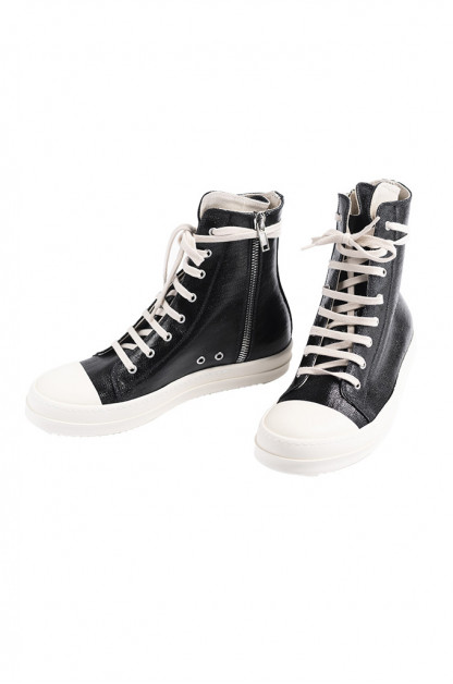 Rick Owens DRKSHDW Black/Milk Ramones - 18oz Lacquered Denim
