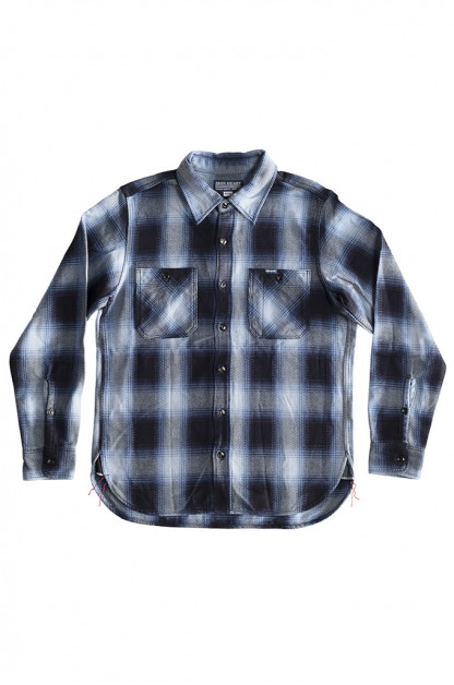 Iron Heart 9oz Selvedge Ombre Check Work Shirt - Indigo