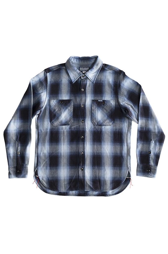 Iron Heart 9oz Selvedge Ombre Check Work Shirt - Indigo - Image 0