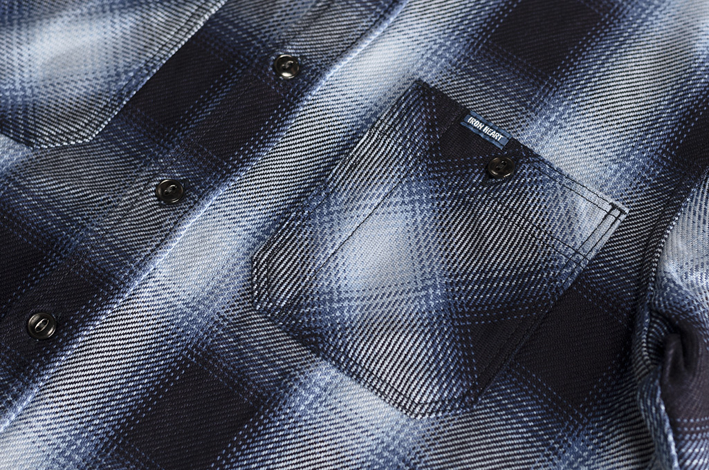 Iron Heart 9oz Selvedge Ombre Check Work Shirt - Indigo - Image 2