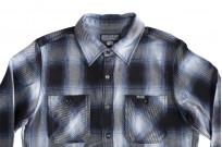 Iron Heart 9oz Selvedge Ombre Check Work Shirt - Indigo - Image 3