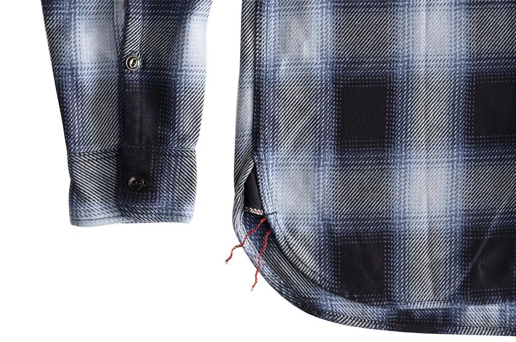 Iron Heart 9oz Selvedge Ombre Check Work Shirt - Indigo - Image 4