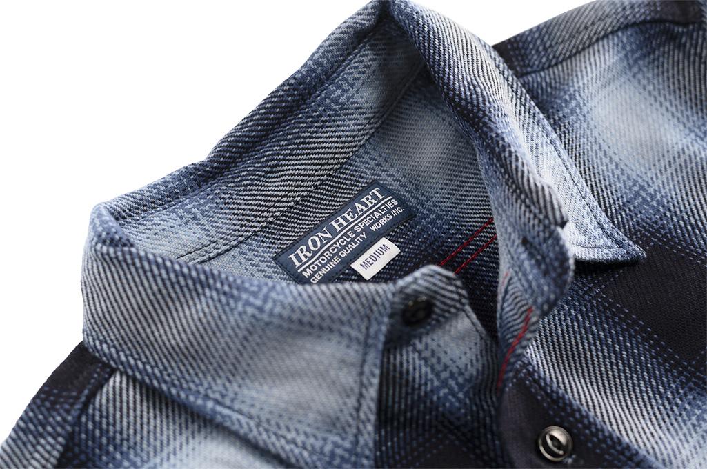 Iron Heart 9oz Selvedge Ombre Check Work Shirt - Indigo - Image 8