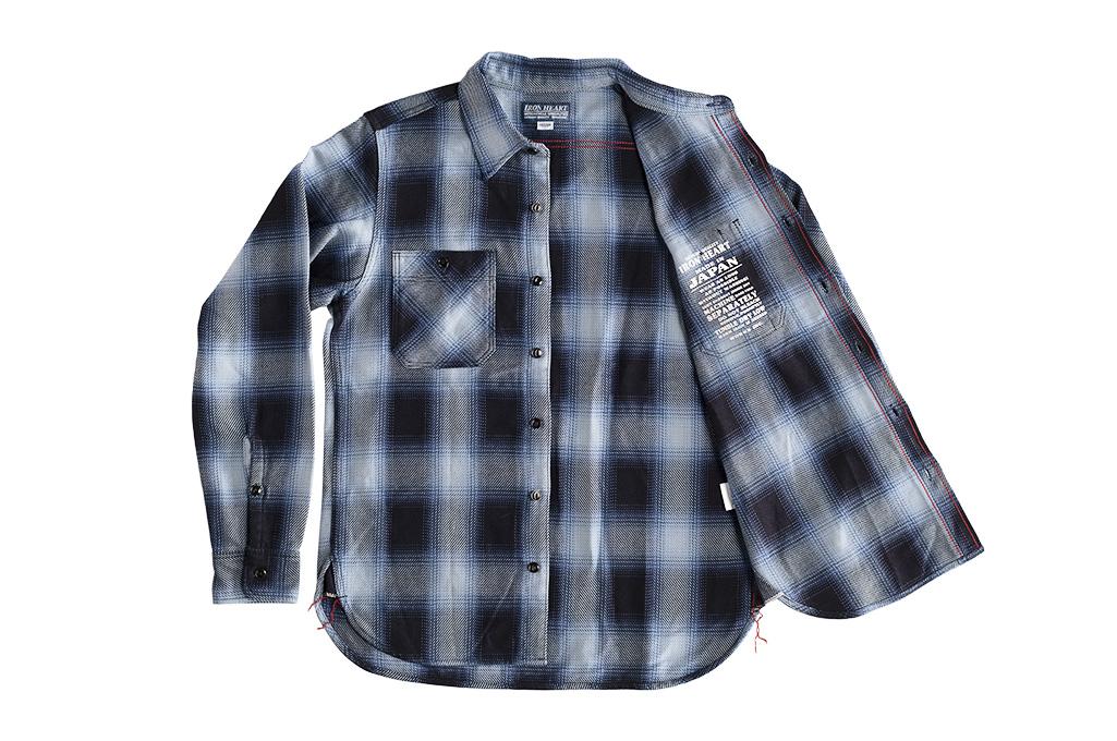 Iron Heart 9oz Selvedge Ombre Check Work Shirt - Indigo - Image 9