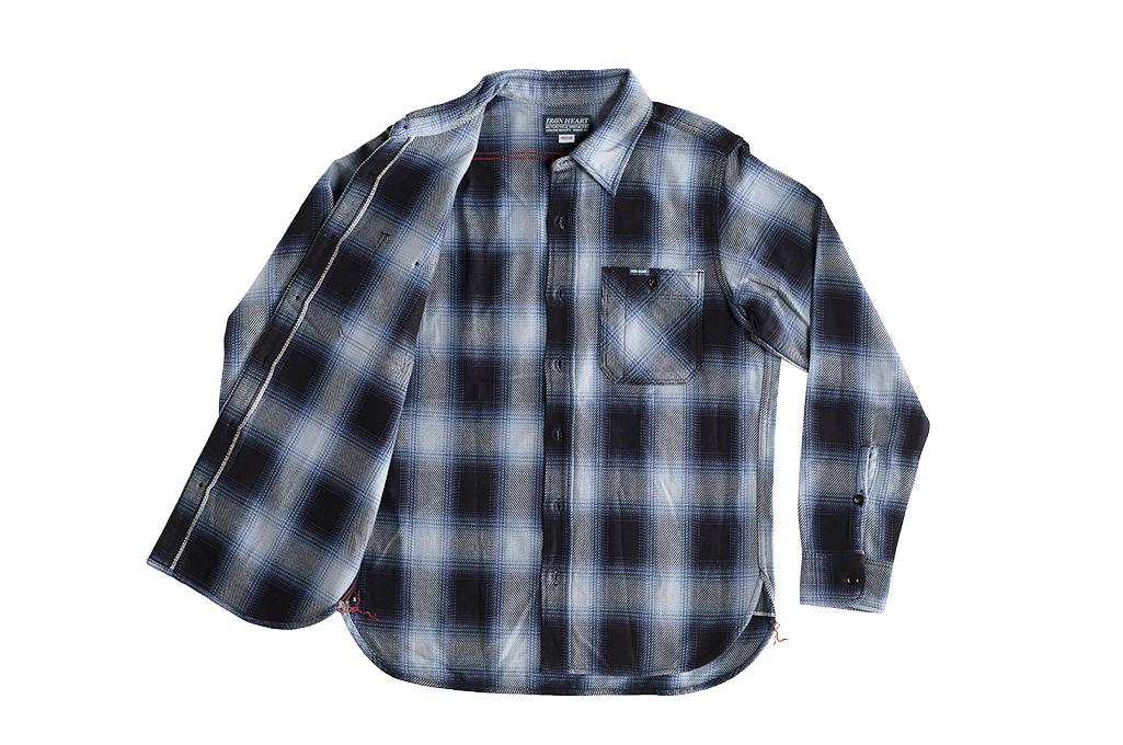 Iron Heart 9oz Selvedge Ombre Check Work Shirt - Indigo - Image 10