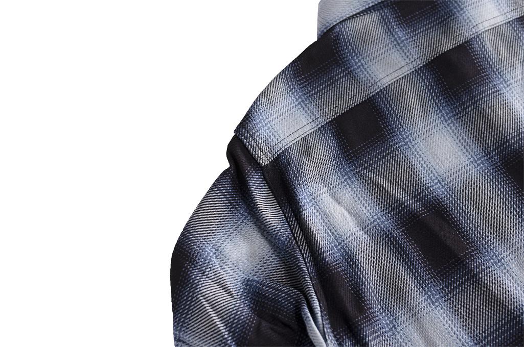 Iron Heart 9oz Selvedge Ombre Check Work Shirt - Indigo - Image 13
