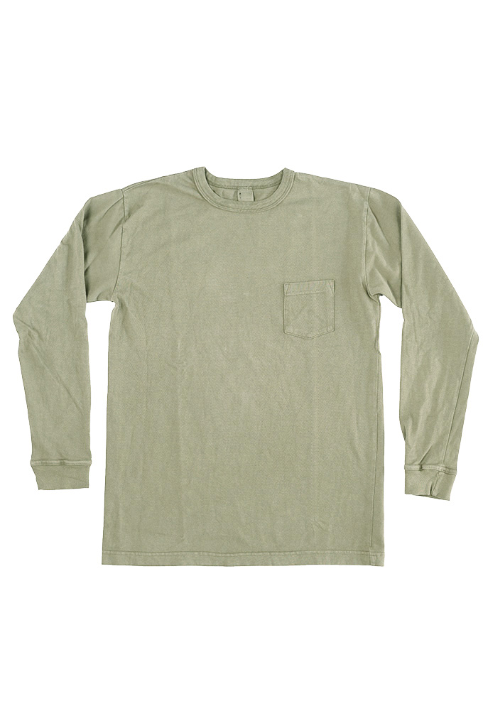 3sixteen Garment Dyed Long Sleeve T-Shirt - Military Green - Image 0