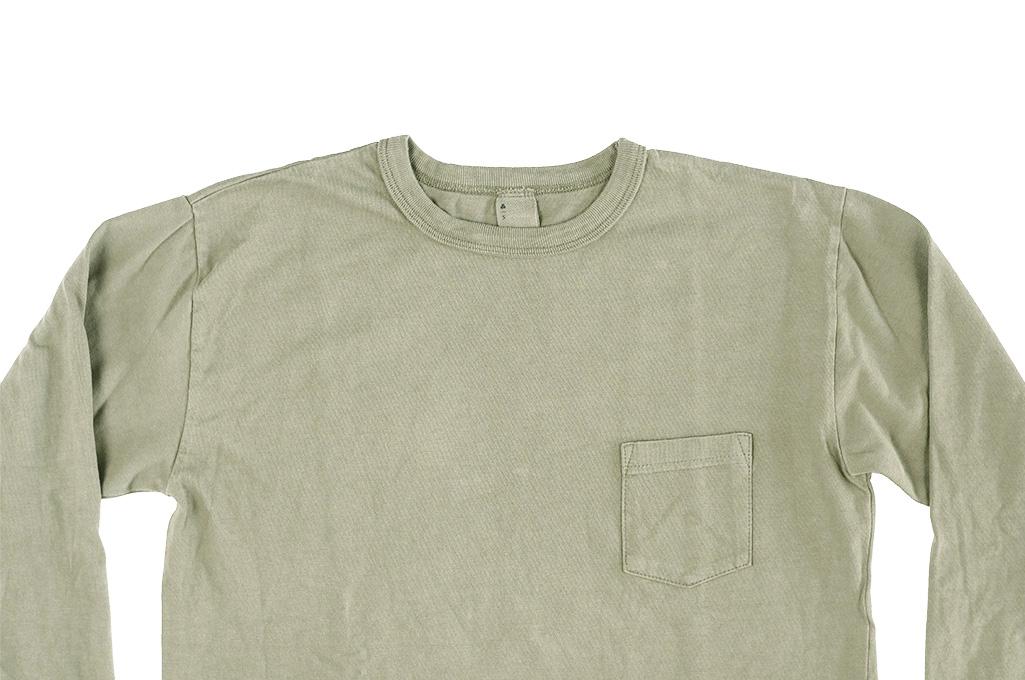 3sixteen Garment Dyed Long Sleeve T-Shirt - Military Green - Image 3