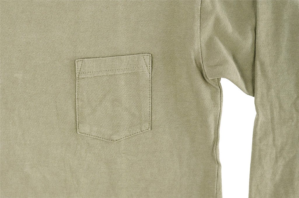 3sixteen Garment Dyed Long Sleeve T-Shirt - Military Green - Image 6