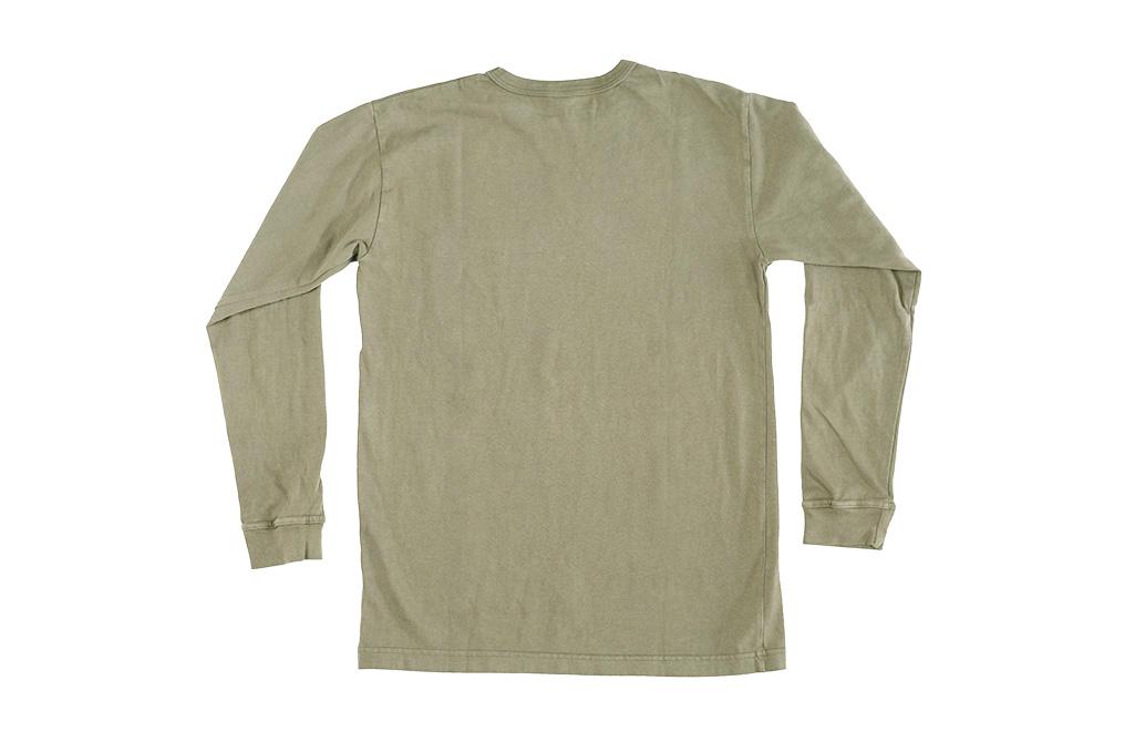 3sixteen Garment Dyed Long Sleeve T-Shirt - Military Green - Image 7