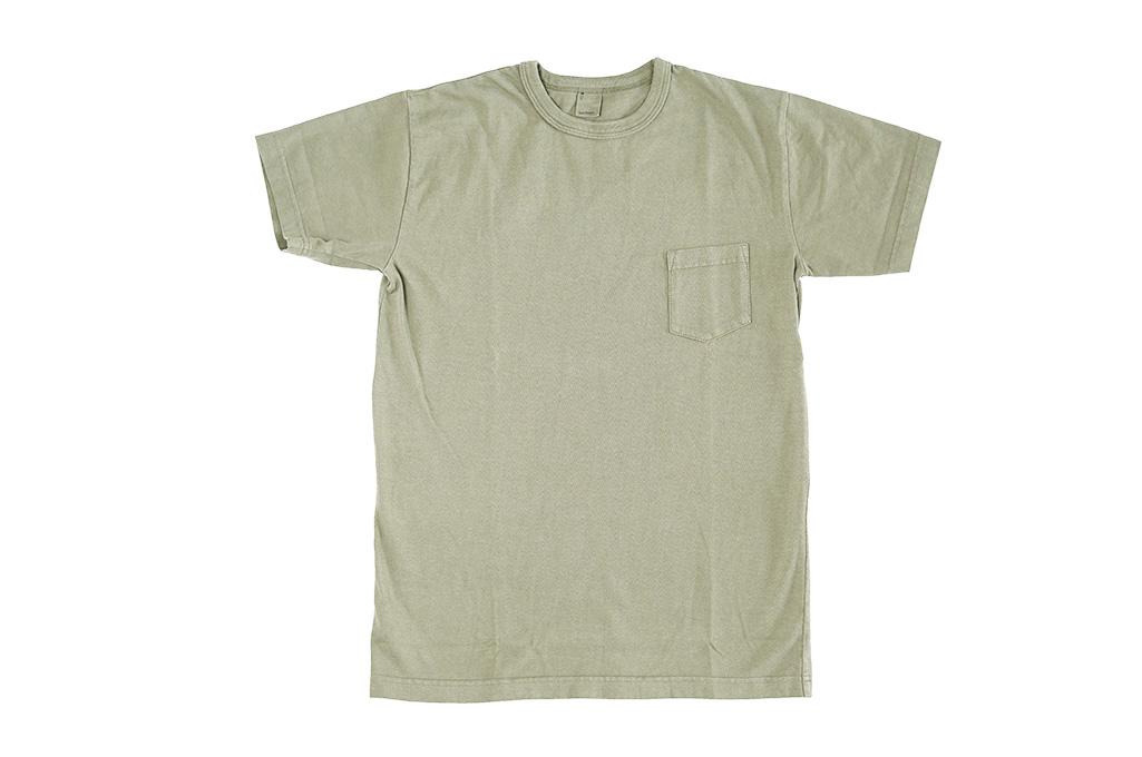 3sixteen Garment Dyed Pocket T-Shirt - Military Green - Image 2
