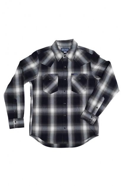 Iron Heart 9oz Selvedge Ombre Indigo Check Snap Shirt - Gray