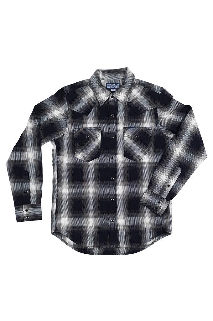Iron Heart 9oz Selvedge Ombre Indigo Check Snap Shirt - Gray - Image 0