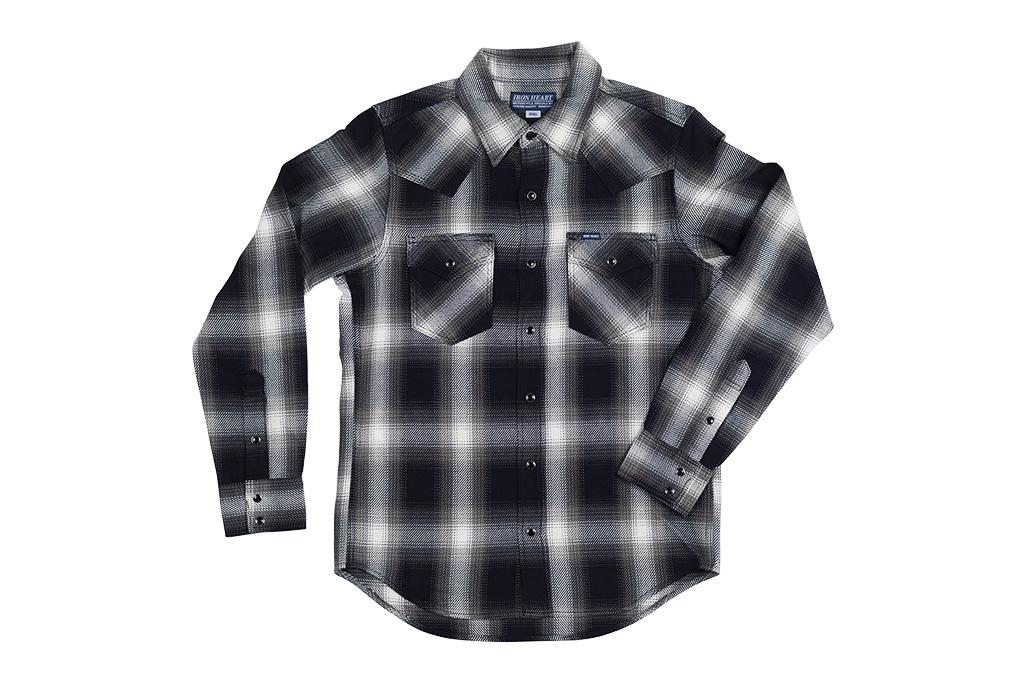 Iron Heart 9oz Selvedge Ombre Indigo Check Snap Shirt - Gray - Image 1