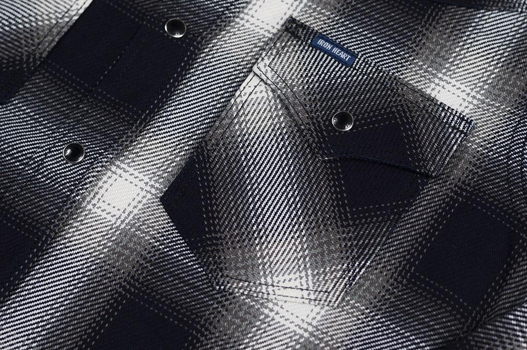 Iron Heart 9oz Selvedge Ombre Indigo Check Snap Shirt - Gray - Image 2