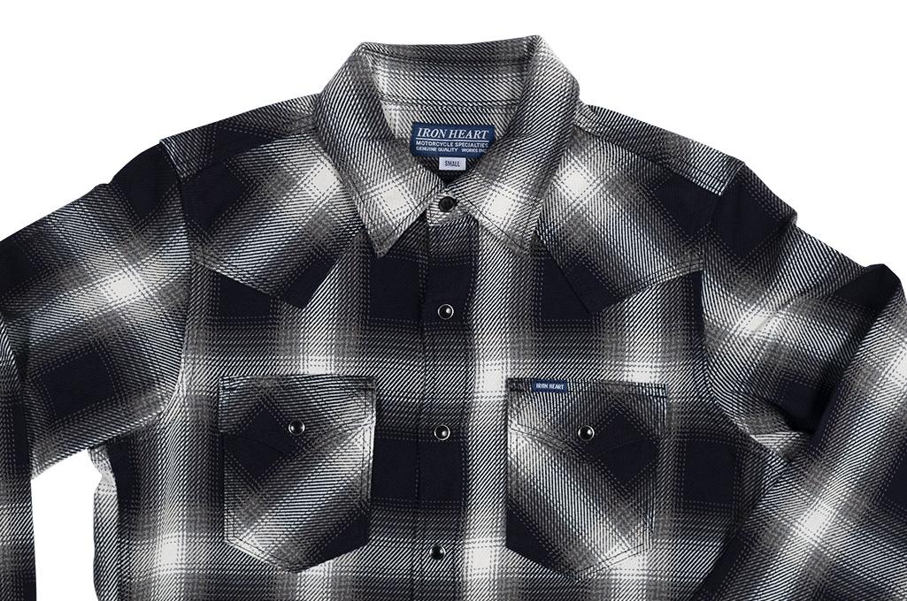 Iron Heart 9oz Selvedge Ombre Indigo Check Snap Shirt - Gray - Image 3