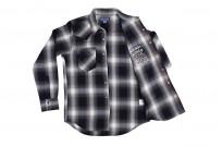 Iron Heart 9oz Selvedge Ombre Indigo Check Snap Shirt - Gray - Image 8
