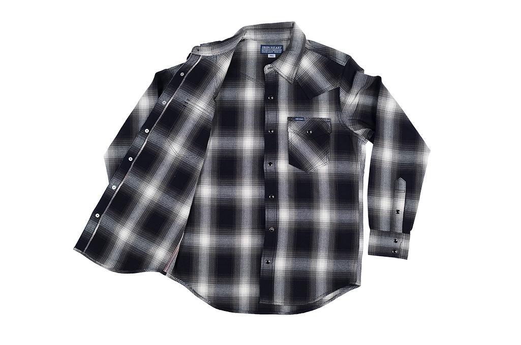 Iron Heart 9oz Selvedge Ombre Indigo Check Snap Shirt - Gray - Image 10