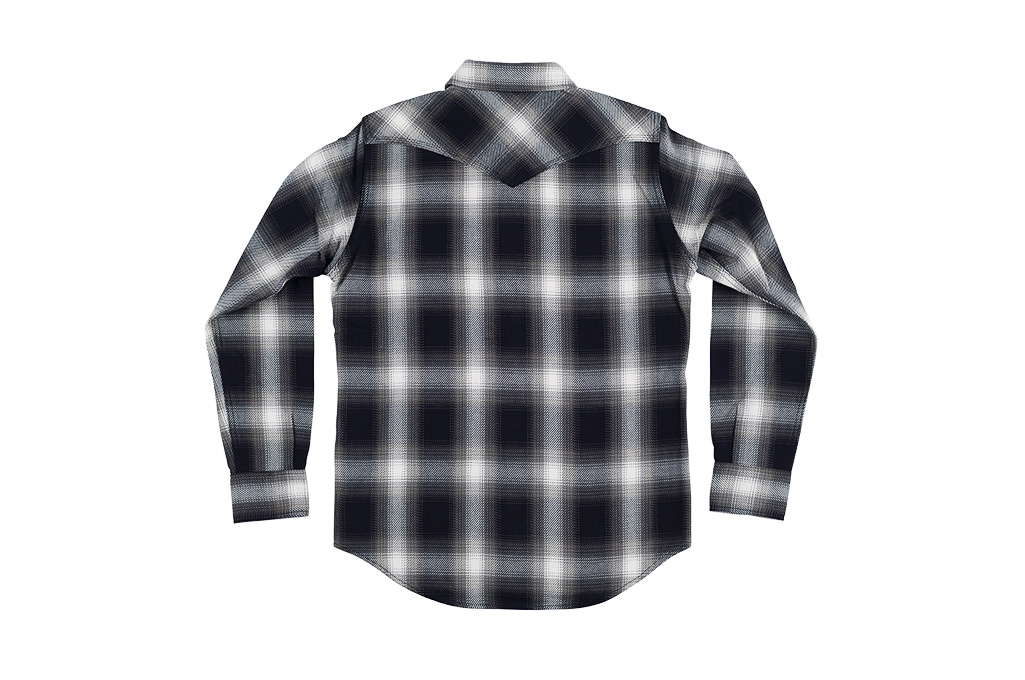 Iron Heart 9oz Selvedge Ombre Indigo Check Snap Shirt - Gray - Image 11