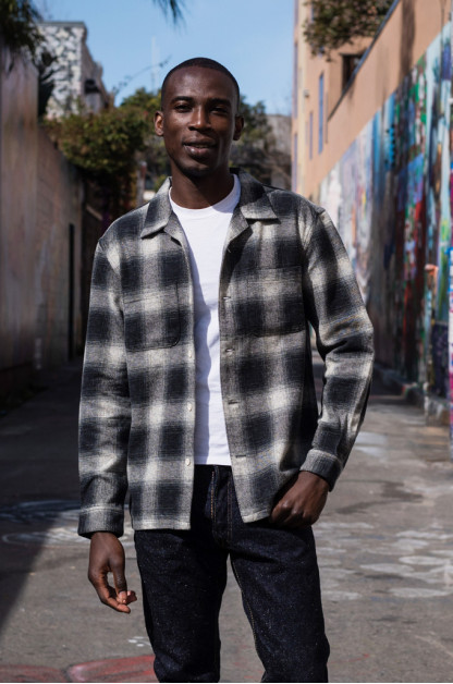 "Flat Head ""Davy"" Ombre Check Flannel - Black"