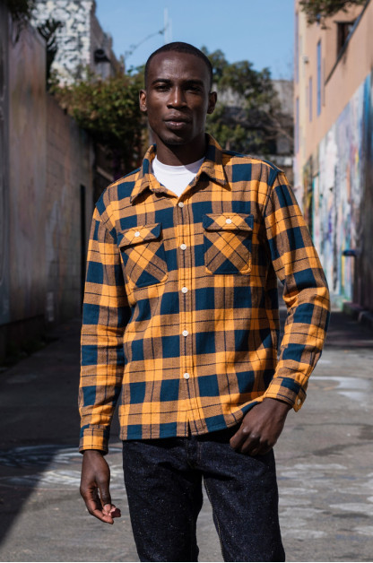 "Flat Head ""Doady"" Heavy Winter Flannel Workshirt - Orange/Navy"