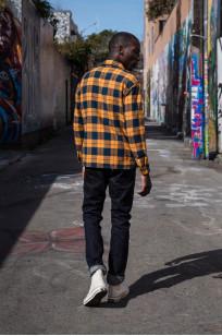 "Flat Head ""Doady"" Heavy Winter Flannel Workshirt - Orange/Navy - Image 5"