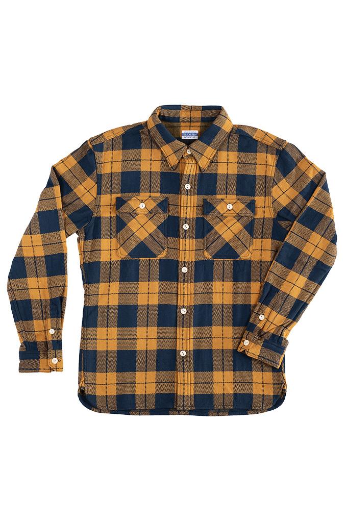 "Flat Head ""Doady"" Heavy Winter Flannel Workshirt - Orange/Navy - Image 6"