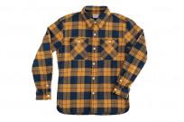 "Flat Head ""Doady"" Heavy Winter Flannel Workshirt - Orange/Navy - Image 7"