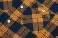 "Flat Head ""Doady"" Heavy Winter Flannel Workshirt - Orange/Navy - Image 8"