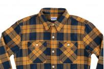 "Flat Head ""Doady"" Heavy Winter Flannel Workshirt - Orange/Navy - Image 9"