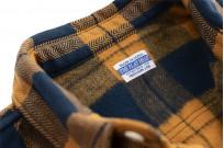 "Flat Head ""Doady"" Heavy Winter Flannel Workshirt - Orange/Navy - Image 10"