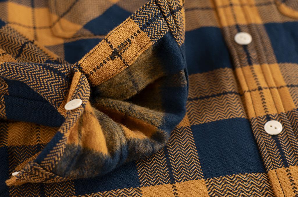 "Flat Head ""Doady"" Heavy Winter Flannel Workshirt - Orange/Navy - Image 13"