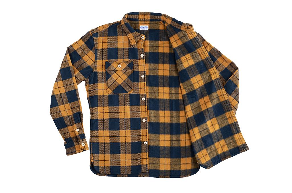 "Flat Head ""Doady"" Heavy Winter Flannel Workshirt - Orange/Navy - Image 14"