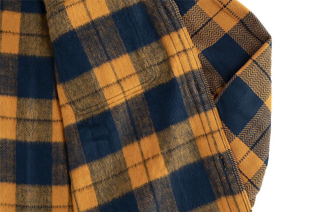 "Flat Head ""Doady"" Heavy Winter Flannel Workshirt - Orange/Navy - Image 15"