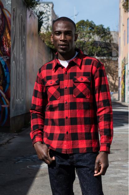 "Flat Head ""Trotwood"" Heavy Winter Flannel Workshirt - Red/Black"