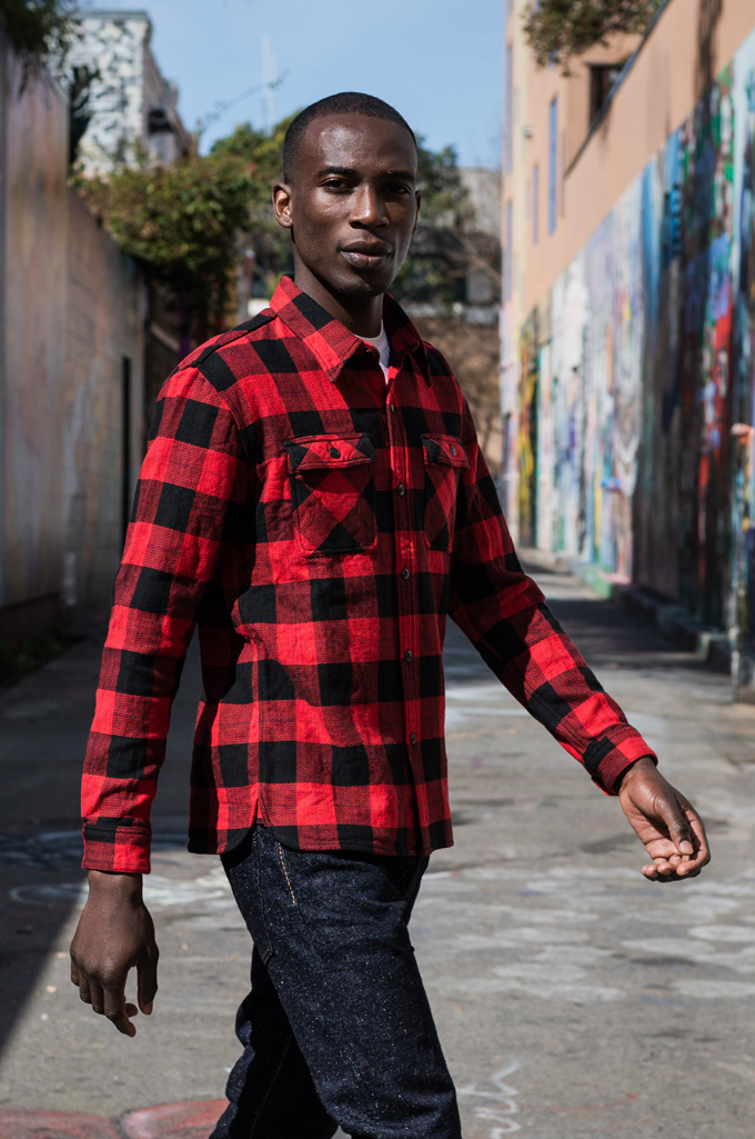 "Flat Head ""Trotwood"" Heavy Winter Flannel Workshirt - Red/Black - Image 3"